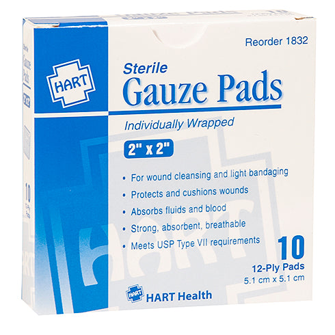 "2"" x 2"" Sterile Gauze Pads Individually Wrapped, 10 per box"