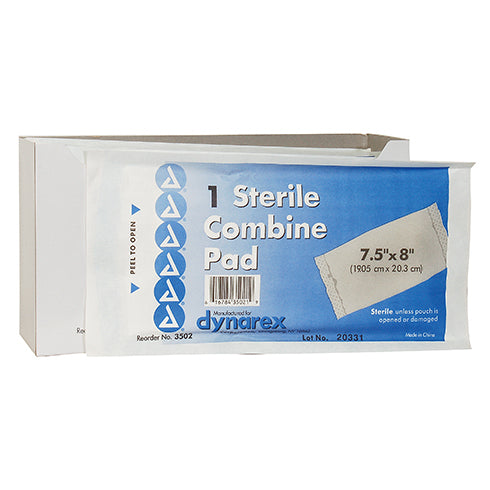 "COMBINE ABD PAD, HART, sterile, 8"" X 7.5"", absorbent cotton/cellulose pad, each"