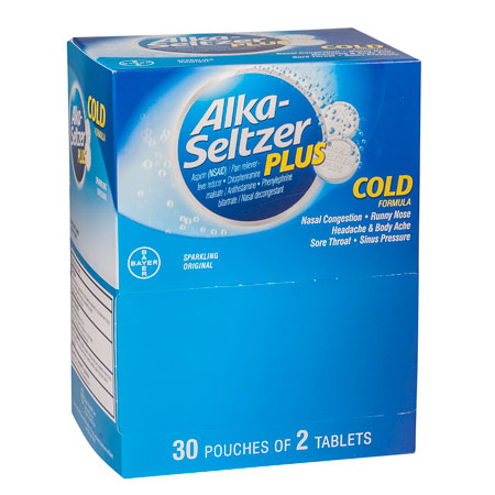 Alka Seltzer Plus Cold Tablets, 60 per box (30 packs of 2)