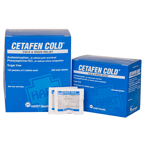 Cetafen Cold and Sinus Relief Tablets, 50 packs of 2