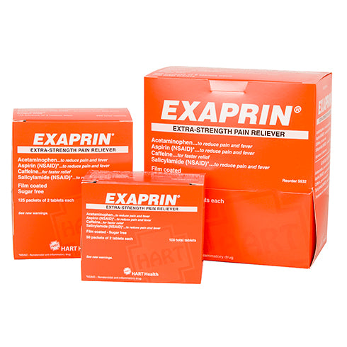 Exaprin Extra strength, multi-ingredient, pain reliever tablets, 50 packs of 2