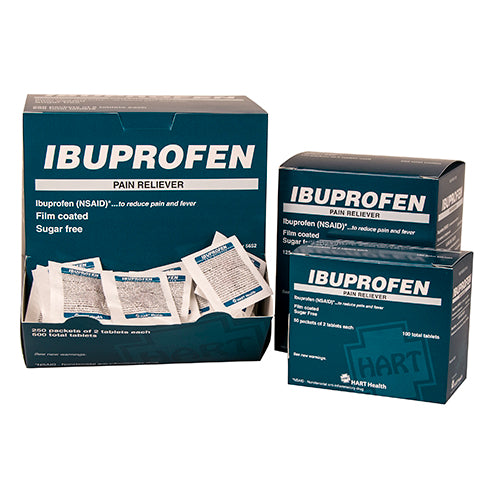 Ibuprofen Tablets (200mg), Box Qty: 50 packs of 2