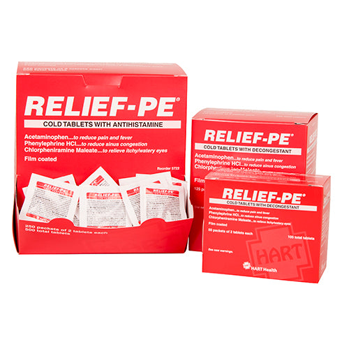 Relief P.E. Cold Tablets, 50 packs of 2