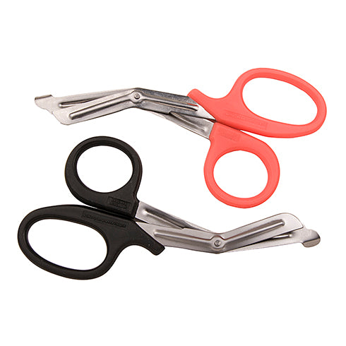 "7-1/2"" EMT Type Utility Scissors with Spade Tip and Orange Plastic Coated Handle"