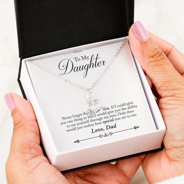 To My Daughter Love Your Dad - Friendship Anchor Necklace with Never Forget Message Card - Kid Angeles .316 Surgical Steel Necklace Jewelry