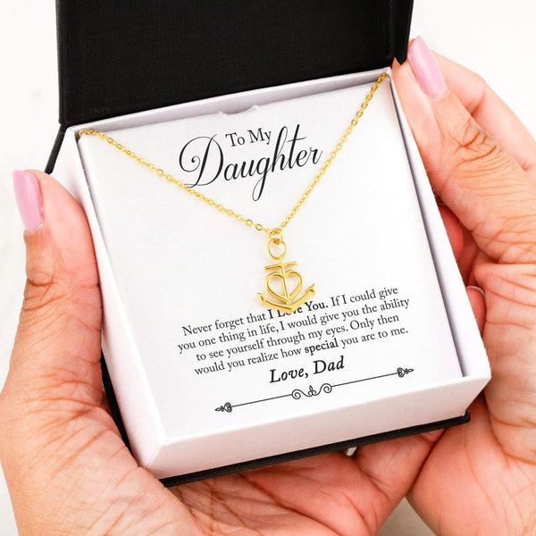 To My Daughter Love Your Dad - Friendship Anchor Necklace with Never Forget Message Card - Kid Angeles 18k Yellow Gold Finish Friendship Anchor Jewelry