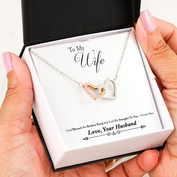 To My Wife Love Your Husband - Interlocking Hearts Necklace with Broken Road Message Card - Kid Angeles Interlocking Heart Insert Template Jewelry
