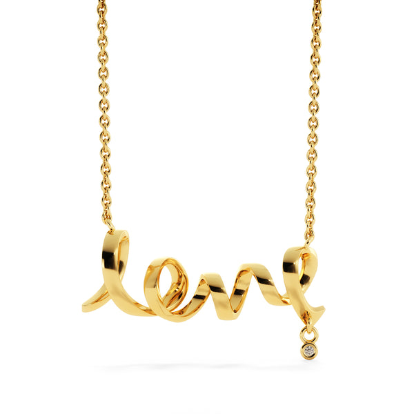 Scripted Love Necklace - Kid Angeles 18k Yellow Gold Scripted Love Jewelry