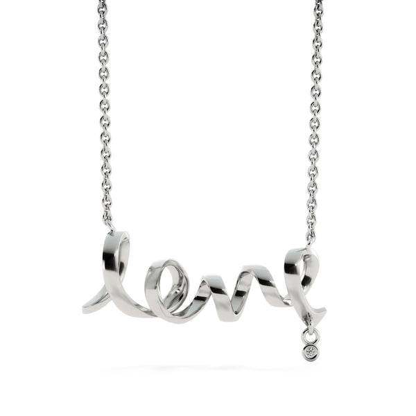 Scripted Love Necklace - Kid Angeles High Polished .316 Surgical Steel Scripted Love Jewelry