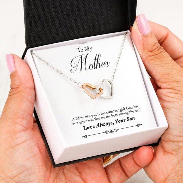 To My Mother Love Your Son - Interlocking Hearts with Best Message Card - Kid Angeles To My Mother Love Always Your Son - Interlocking Hearts with Best Message Card Jewelry
