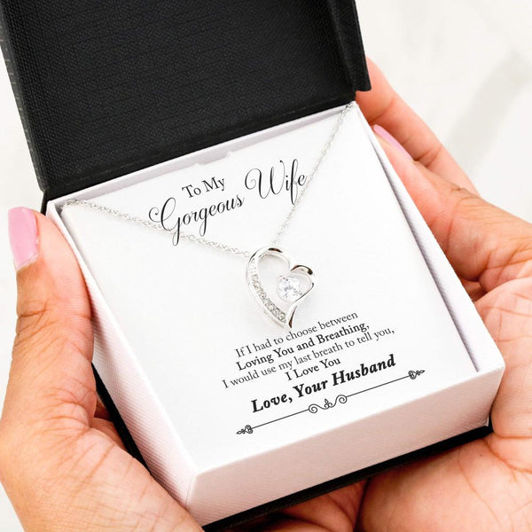 To My Wife Love Your Husband - Forever Love Necklace with Last Breath Message Card - Kid Angeles 14k White Gold Finish Jewelry