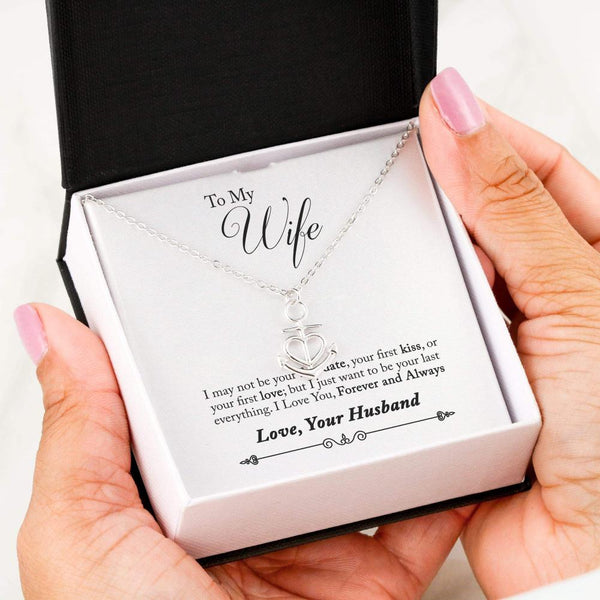 To My Wife Love Your Husband - Friendship Anchor Necklace with First Message Card - Kid Angeles .316 Surgical Steel Necklace Jewelry