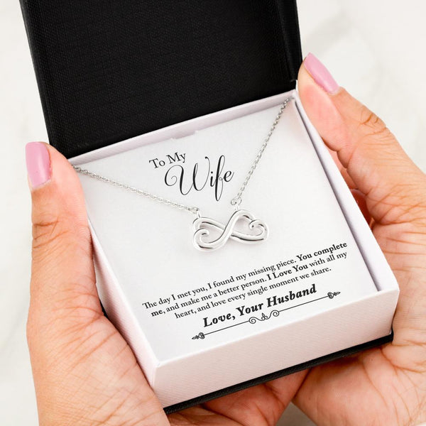 To My Wife Love Your Husband - Infinity Hearts Necklace with Heart to Heart Message Card - Kid Angeles 14k White Gold Finish Jewelry