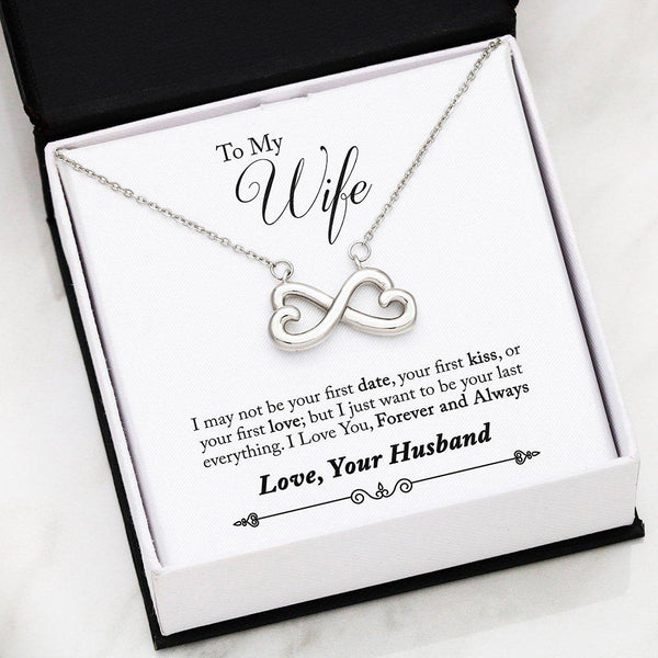 To My Wife Love Your Husband - Infinity Hearts Necklace with First Message Card - Kid Angeles 14k White Gold Finish Jewelry