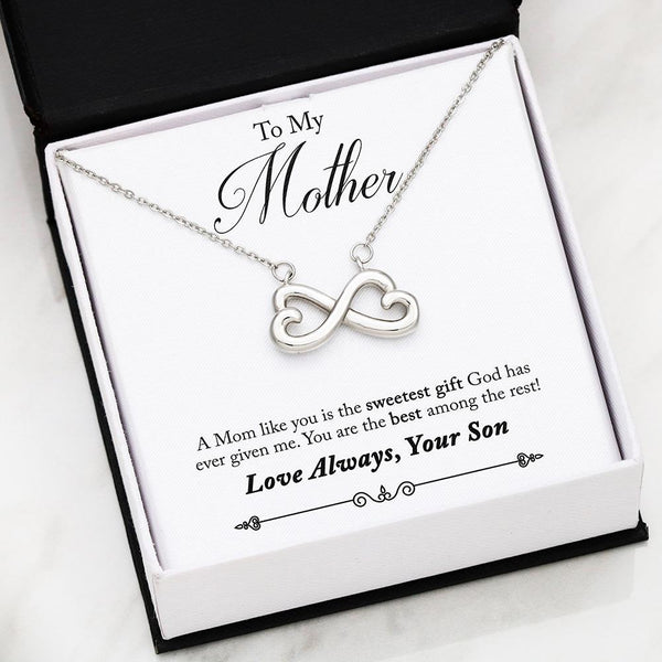 To My Mother Love Your Son - Infinity Hearts Necklace with Best Message Card - Kid Angeles 14k White Gold Finish Jewelry