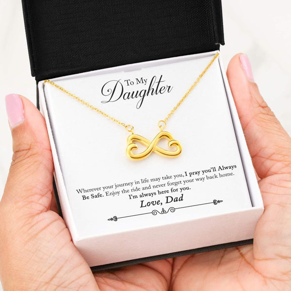 To My Wife Love Your Husband - Infinity Hearts Necklace with Heart to Heart Message Card - Kid Angeles 18k Yellow Gold Finish Jewelry