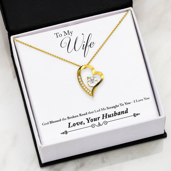 To My Wife Love Your Husband - Forever Love Necklace with Broken Road Message Card - Kid Angeles 18k Yellow Gold Finish Jewelry
