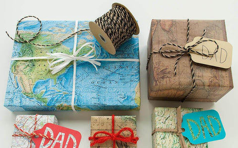 Eco-friendly green living old maps gift wrap Christmas Gift