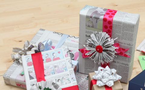 Eco-friendly alternatives Christmas Wrapping Paper Newspaper Wrap