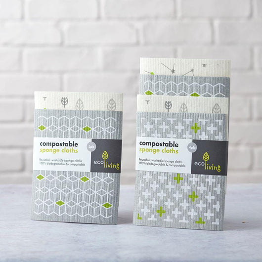ecoLiving - Compostable Sponge Cleaning Cloths - Pack of 2 | The Ideal Sunday