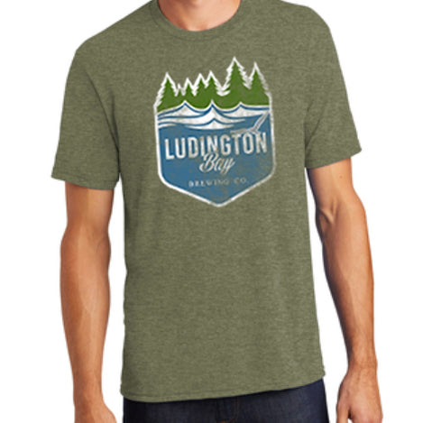 Ludington Bay Brewing Co. Men's Distressed Badge T-Shirt - Military Green