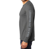 Ludington Bay Brewing Co. Men's Long Sleeve Shirt with Sleeve Text - Grey