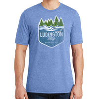 Ludington Bay Brewing Co. Men's Distressed Badge T-Shirt - Maritime Frost