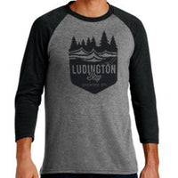 Ludington Bay Brewing Co. Men's Badge Raglan 3/4 Sleeve Tee Black/Black Frost