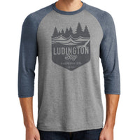 Ludington Bay Brewing Co. Men's Badge Raglan 3/4 Sleeve Tee Navy/GreyFrost