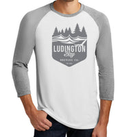 Ludington Bay Brewing Co. Men's Badge Raglan 3/4 Sleeve Tee White/Grey