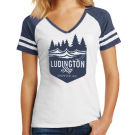 Ludington Bay Brewing Co. Women's Badge Game Day V-Neck - White/Navy