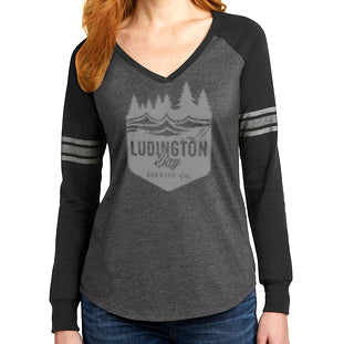 Ludington Bay Brewing Co. Women's Badge Longsleeve - Charcoal/Black/Silver