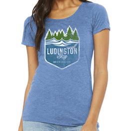Ludington Bay Brewing Co. Women's Distressed Badge Tee - Blue