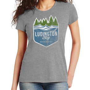 Ludington Bay Brewing Co. Women's Distressed Badge Tee - Grey