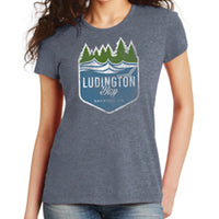 Ludington Bay Brewing Co. Women's Distressed Badge Tee - Navy