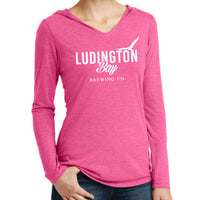 Ludington Bay Brewing Co. Women's Long Sleeve Hooded Tee - Pink