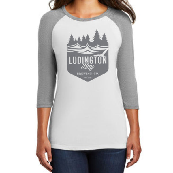 Ludington Bay Brewing Co. Women's Badge Raglan 3/4 Sleeve Tee White/Grey