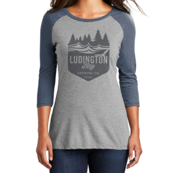 Ludington Bay Brewing Co. Women's Badge Raglan 3/4 Sleeve Tee Navy/Grey Frost