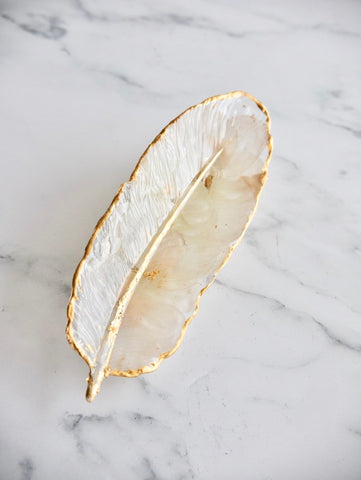 Feather Gold Leaf Tray