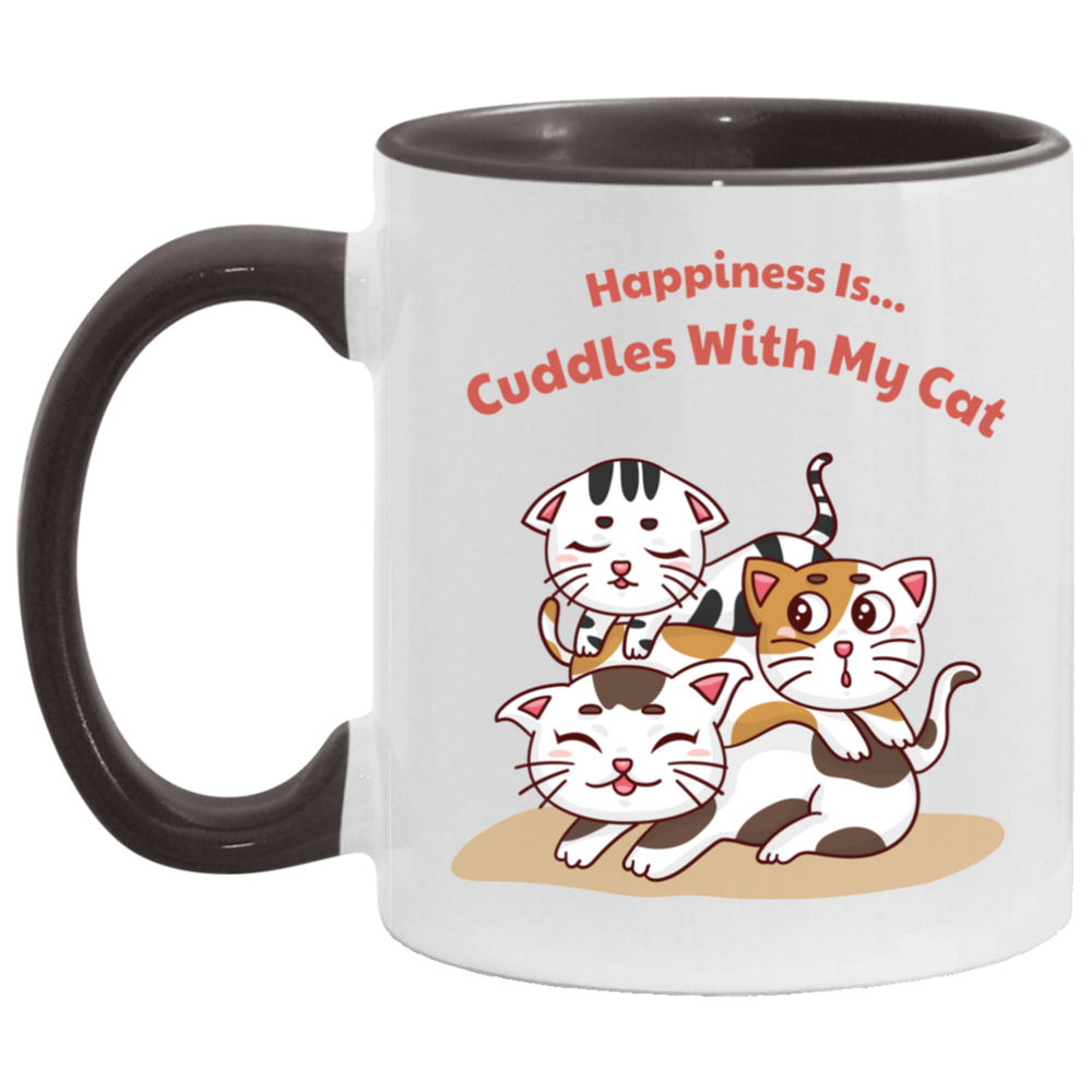 Happiness Is Cuddles With My Cat Accent Mug