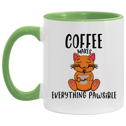 Coffee Makes Everything Pawsible Accent Mug