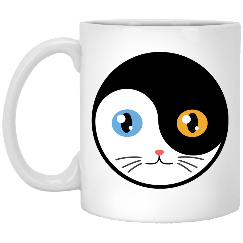 Yin Yang Cat Eyes White Mug