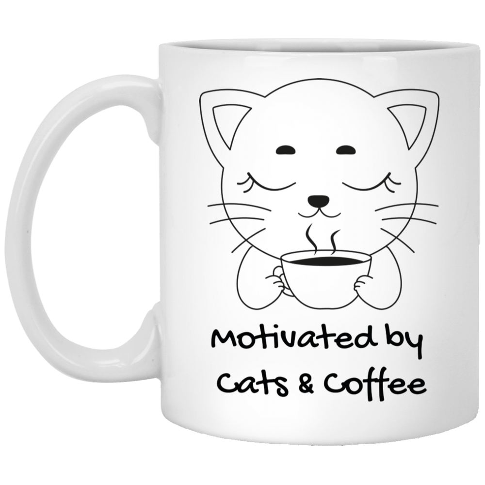 Motivated by Cats & Coffee White Mug