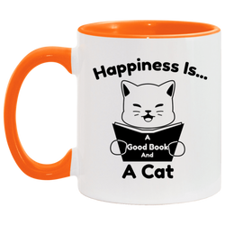 Happiness Is A Good Book And A Cat Accent Mug