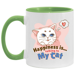 Happiness Is Talking To My Cat Accent Mug