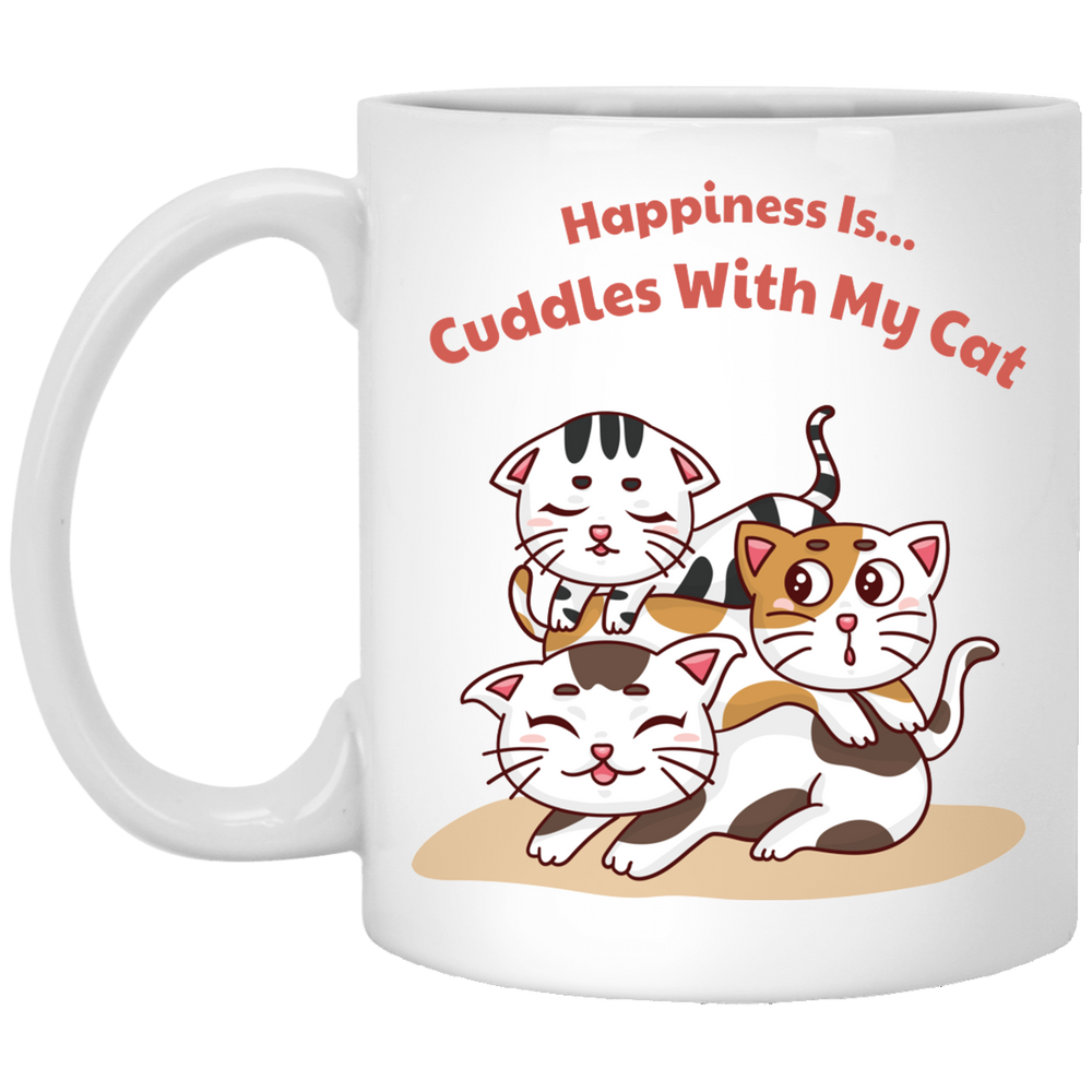 Happiness Is Cuddles With My Cat White Mug