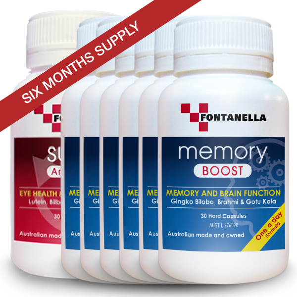 Memory Boost – 6 Months Supply + 1 BONUS Month Supply Memory Boost FREE Valued $29.95 + 1 Month BONUS Super Antioxidant Valued $29.95 + FREE Delivery