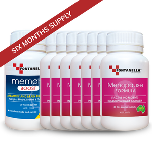 Menopause Formula – 6 Months Supply + 1 BONUS Month Supply Menopause FREE Valued $29.95 + 1 Month BONUS Memory Boost Valued $29.95 + FREE Delivery