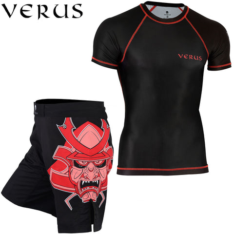 VERUS Black Warrior Style Rash Guard and MMA Shorts Set