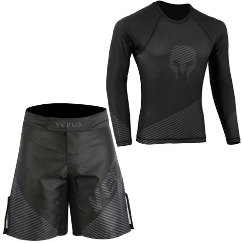 VERUS Black Skull Style Rash Guard and MMA Shorts Set